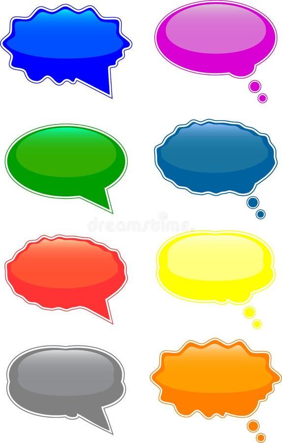 Burbujas del discurso y del pensamiento imagenes de archivo