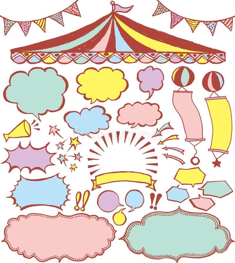Burbujas del discurso y ornamentos del mercado stock de ilustración