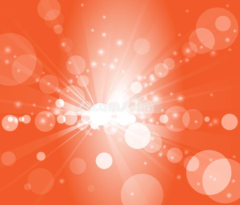 Burbujas del fondo anaranjado o luces blancas del bokeh fotografía de archivo libre de regalías
