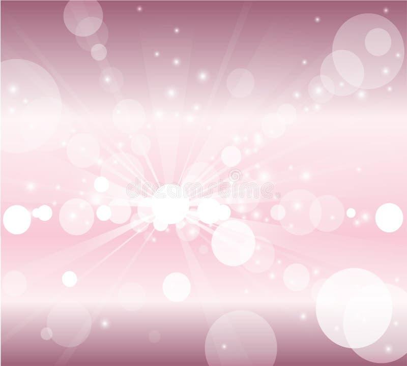 Burbujas del fondo rosado y blanco o luces blancas del bokeh ilustración del vector