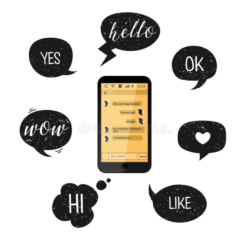 Burbujas del teléfono móvil y del discurso Ilustración del vector Smartphone con las cajas amarillas de la charla Comunicación so stock de ilustración