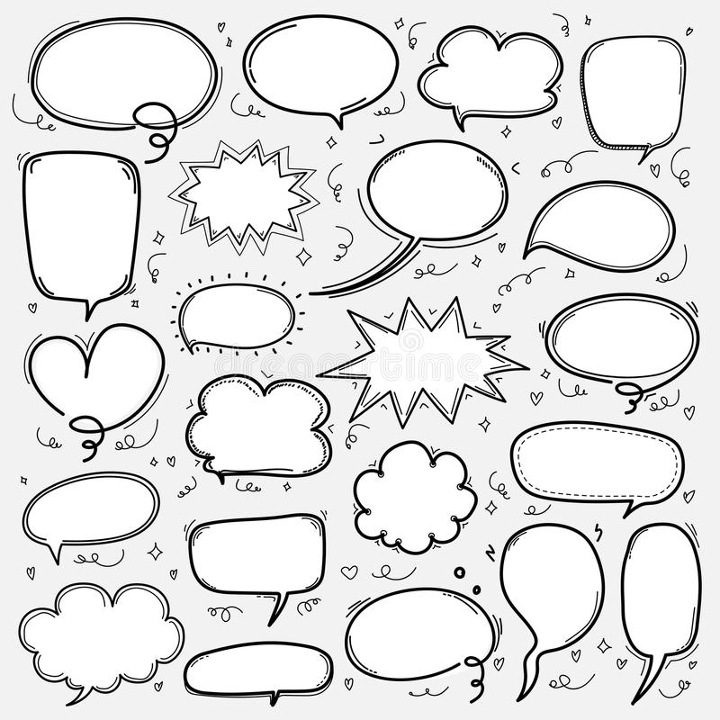 Burbujas dibujadas mano fijadas El globo cómico del estilo del garabato, nube formó elementos del diseño libre illustration