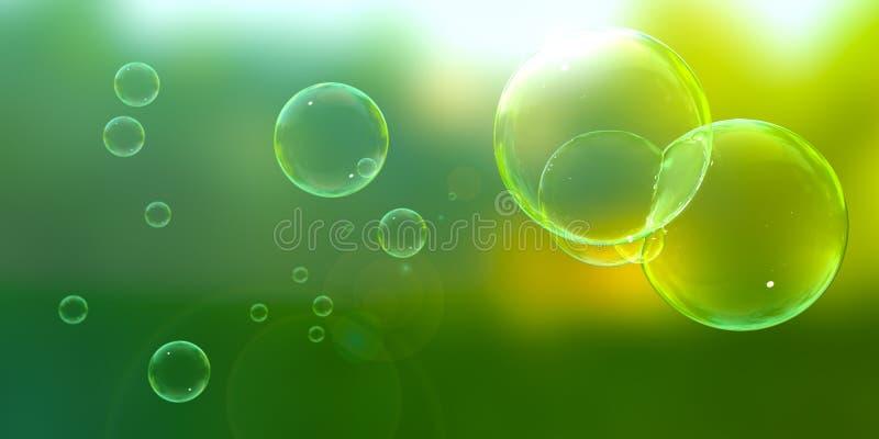 Burbujas en un día asoleado stock de ilustración