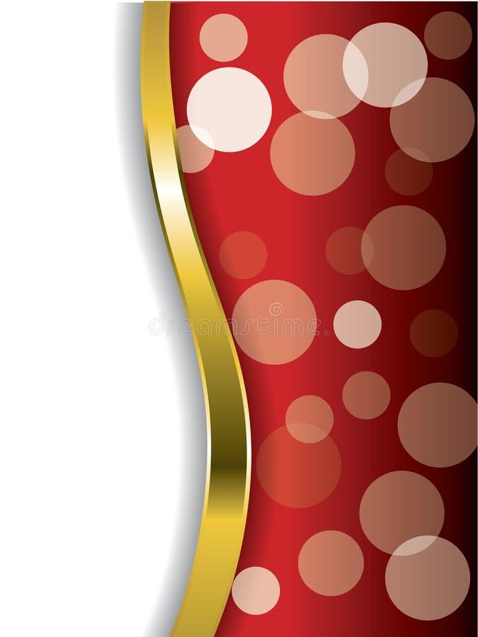 Burbujas frescas en rojo con la onda del oro libre illustration