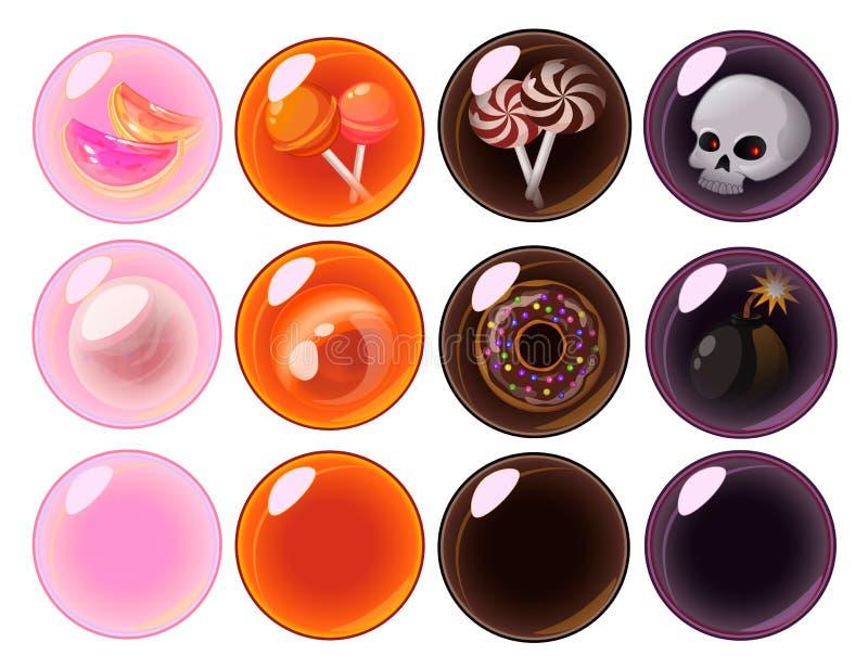 Burbujas móviles del juego del vector fijadas libre illustration
