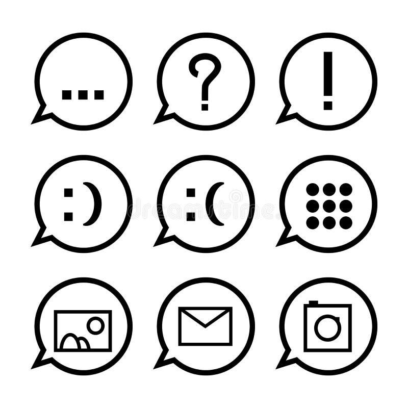 Burbujas negras del discurso con los iconos ilustración del vector