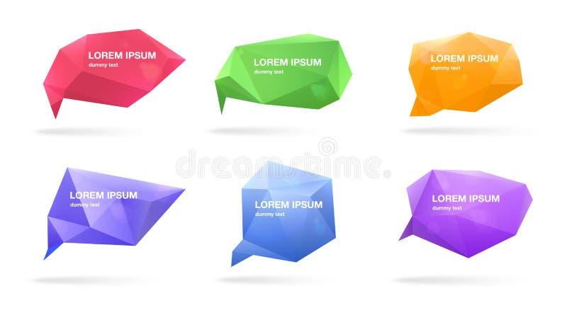 Burbujas poligonales abstractas del discurso fijadas figuras 3d con el lugar para el texto Ejemplos coloridos del vector stock de ilustración