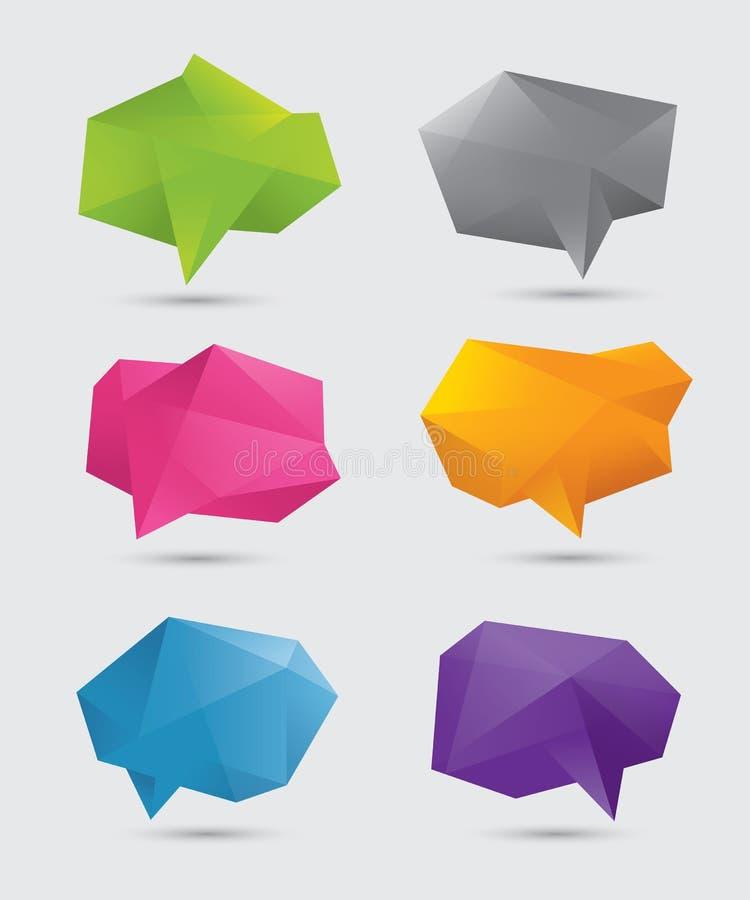 Burbujas poligonales del discurso stock de ilustración