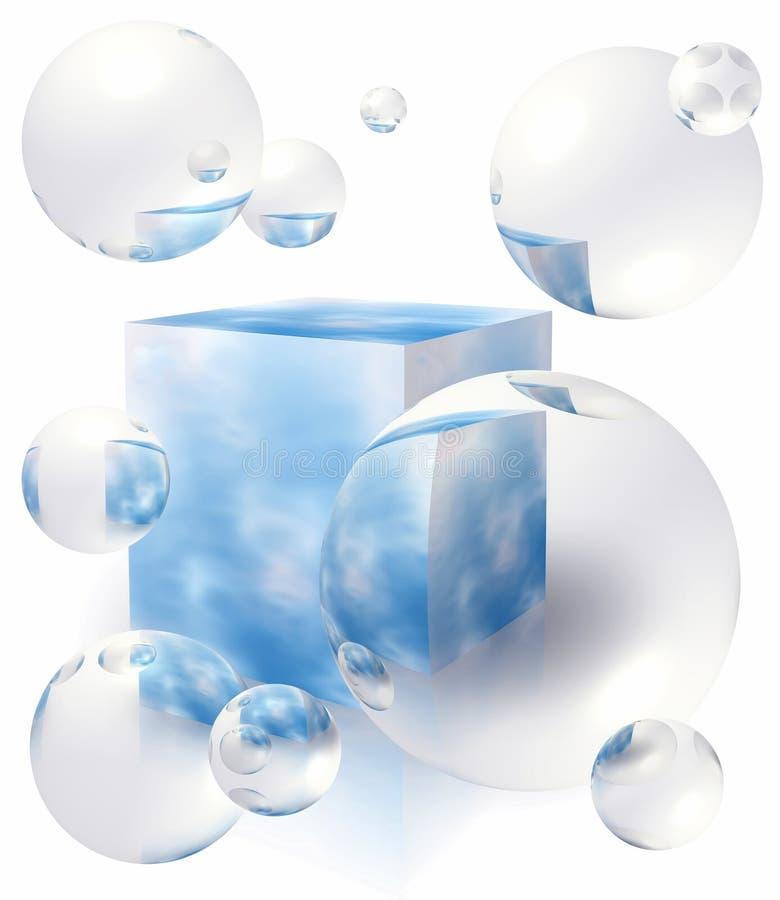 Burbujas que flotan alrededor del rectángulo con el cielo azul stock de ilustración