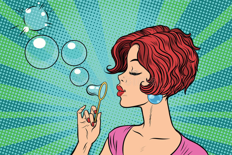 Burbujas que soplan de la mujer joven ilustración del vector