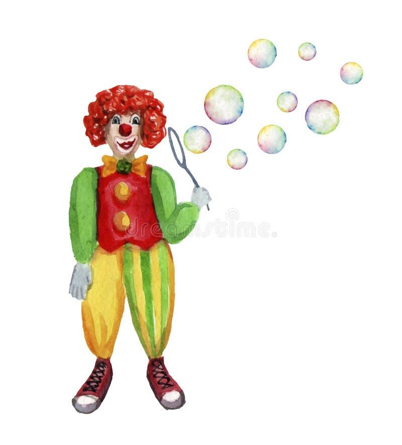 Burbujas que soplan del payaso de circo Ejemplo de la acuarela en blanco ilustración del vector