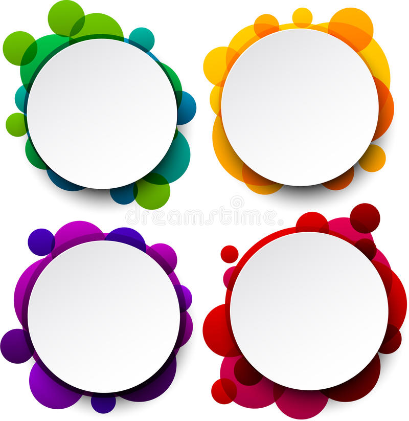 Burbujas redondas blancas de papel del discurso. libre illustration