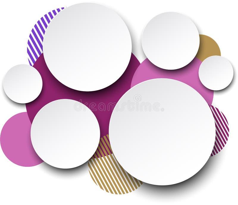 Burbujas redondas blancas de papel del discurso. stock de ilustración