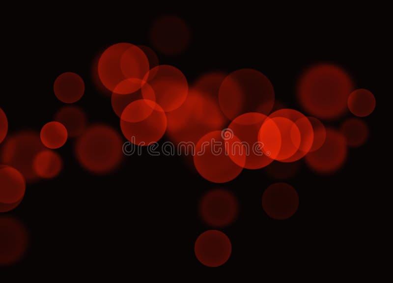 Burbujas rojas abstractas de Bokeh en fondo negro stock de ilustración