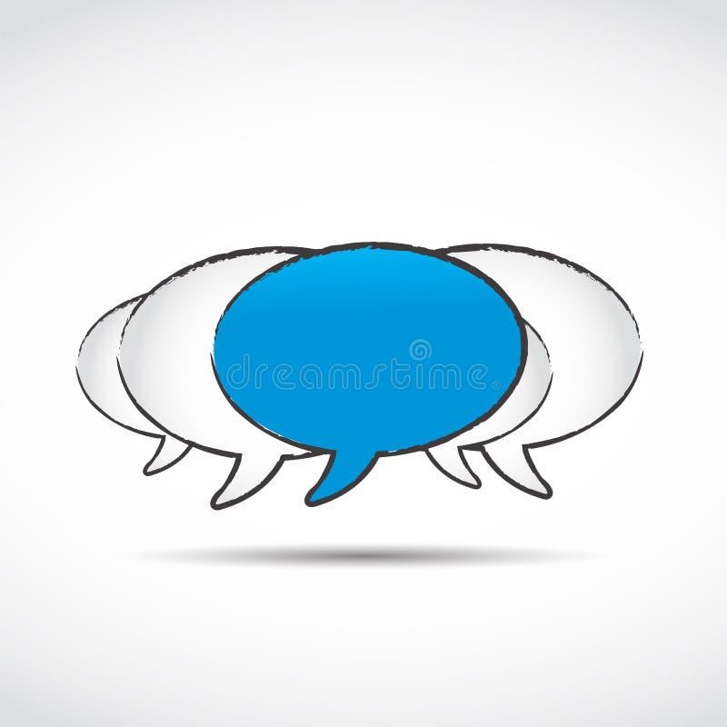 Burbujas sociales del discurso del establecimiento de una red ilustración del vector