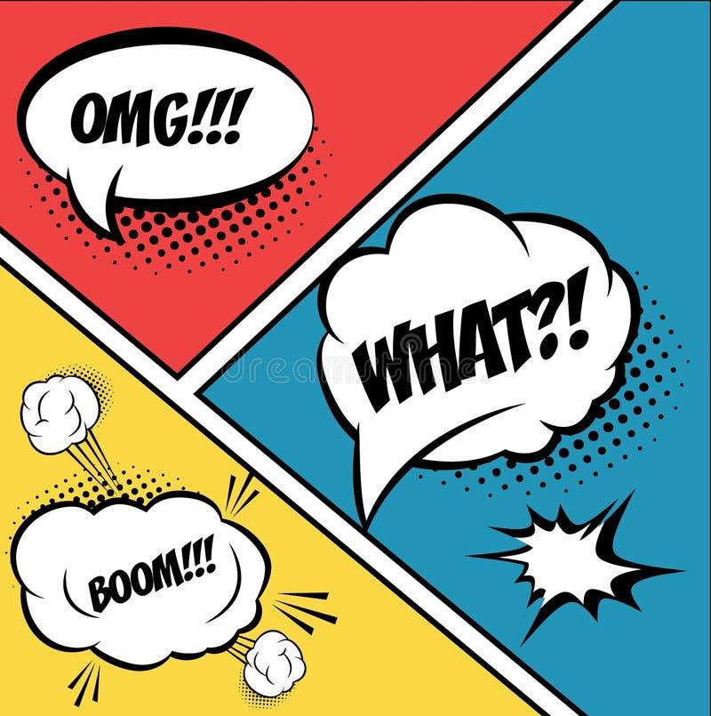 burbujas y elementos cómicos en arte pop, con el tono medio ilustración del vector