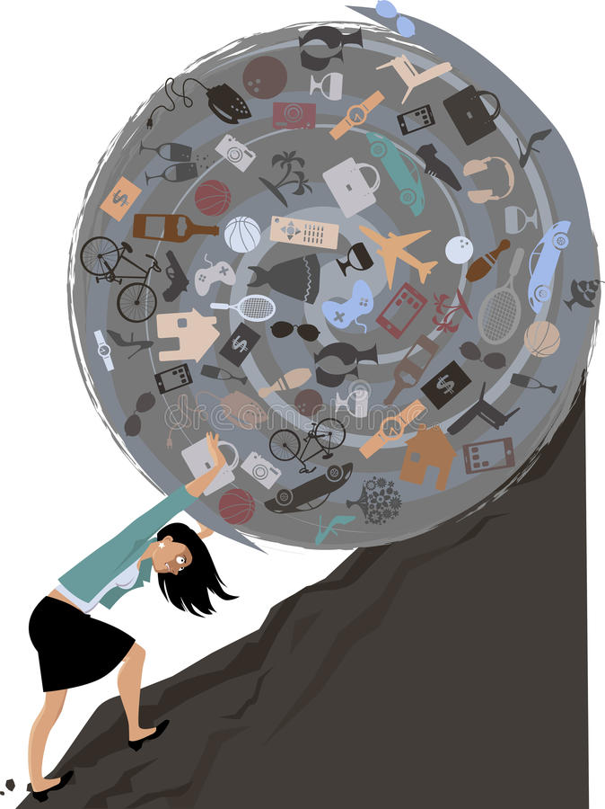 Burden of possessions. Woman rolling a huge ball of possessions uphill, EPS 8 vector illustration vector illustration