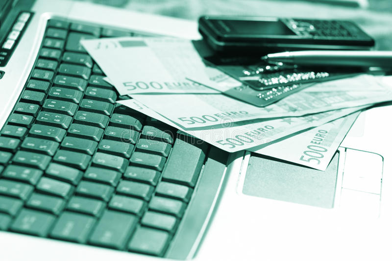 Bureau, accessoires d'affaires, commerce électronique images libres de droits