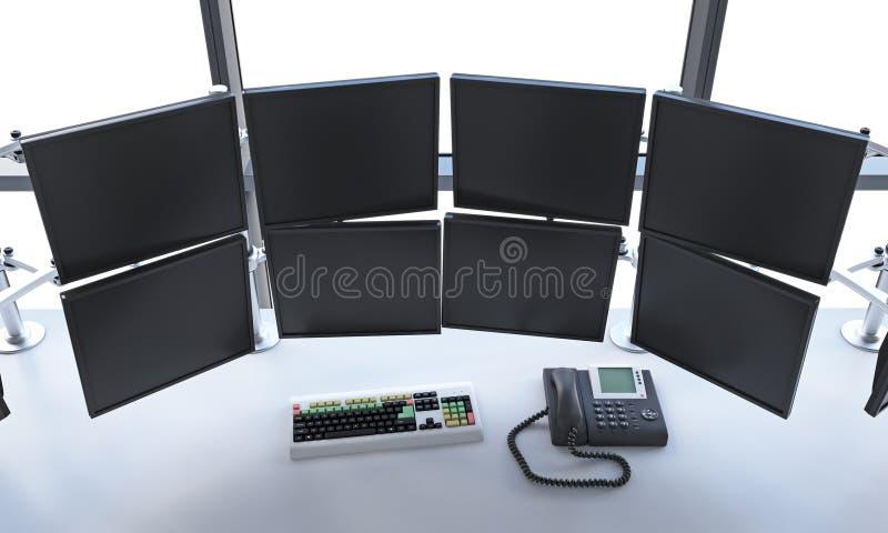 Bureau avec commuté outre des moniteurs, traitant des données, commerce, Ne illustration de vecteur