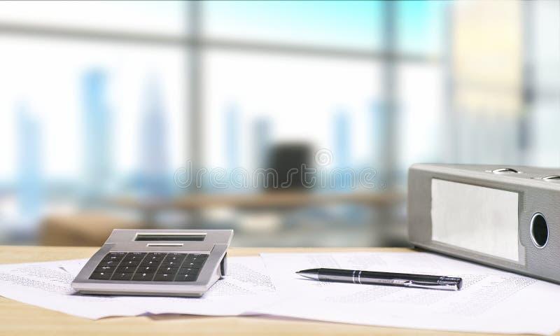Bureau avec des documents et la vue d'horizon image libre de droits