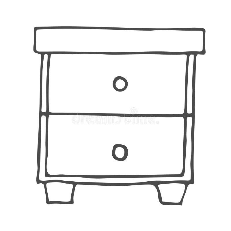 Bureau avec l'icône tirée par la main de griffonnage d'ensemble d'étagères Nightstand avec l'illustration de croquis de vecteur d illustration stock