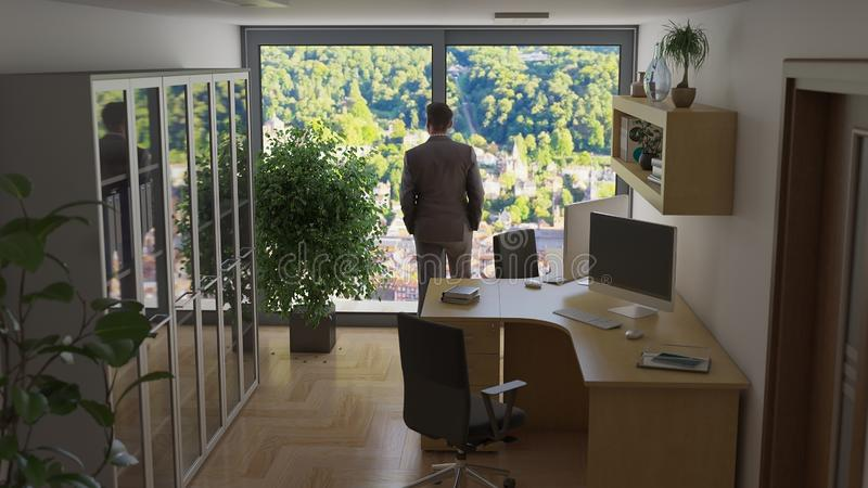 Bureau avec l'ordinateur deux et une illustration de l'homme 3D d'affaires illustration stock