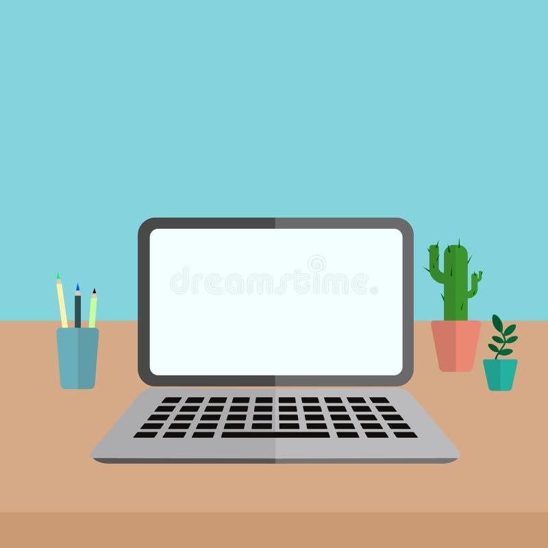 Bureau avec l'ordinateur portable illustration libre de droits