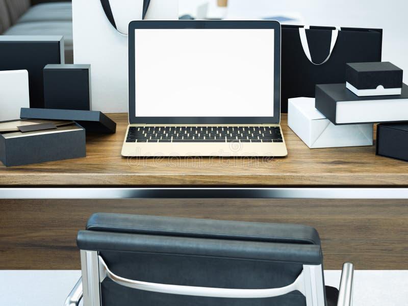 Bureau avec l'ordinateur portable et beaucoup de cadeaux Concept en ligne d'achats rendu 3d illustration de vecteur