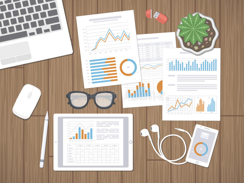 Bureau avec les documents financiers Concept de comptabilité, d'analyse, de rapport ou de planification illustration de vecteur