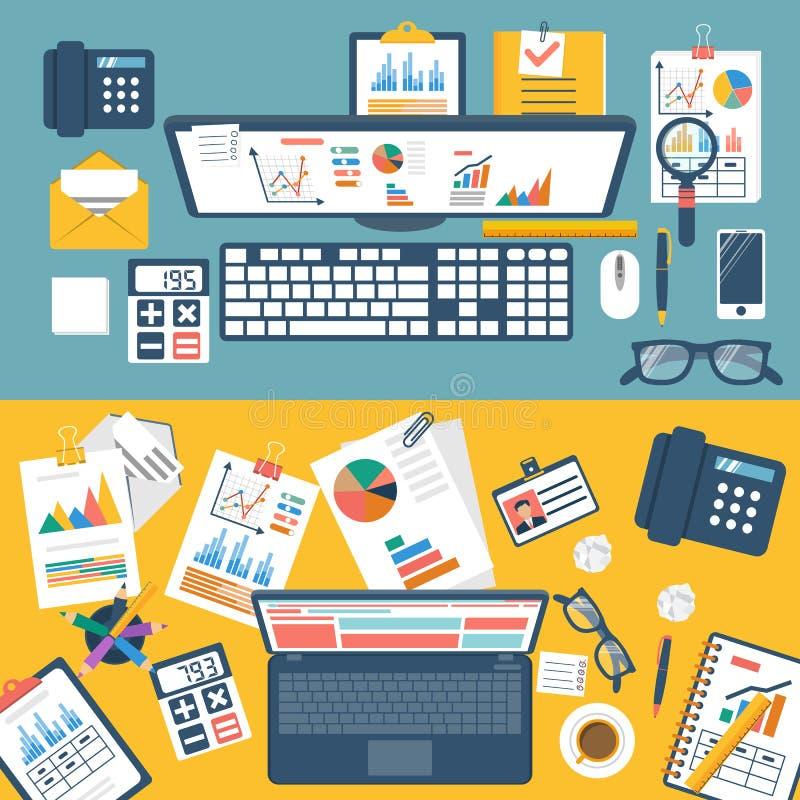 Bureau avec les documents, l'ordinateur portable et les equipmen de bureau illustration de vecteur