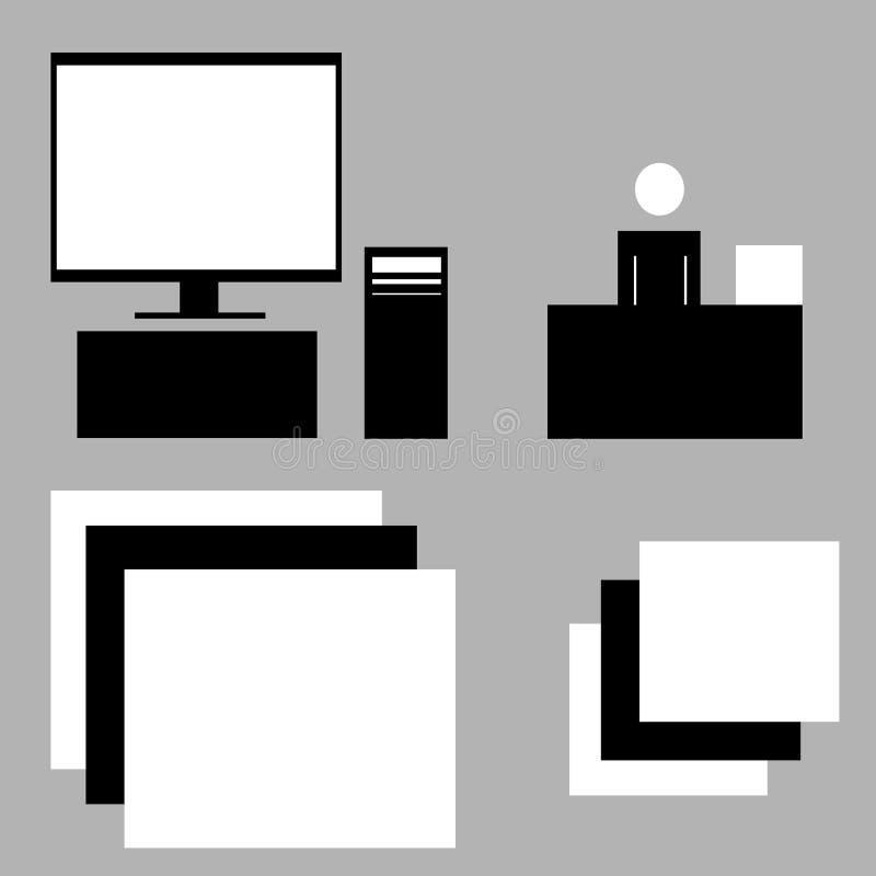 bureau Computer het werk in het bedrijf stock illustratie