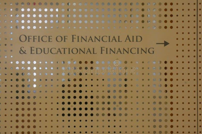 Bureau d'aide financière image stock