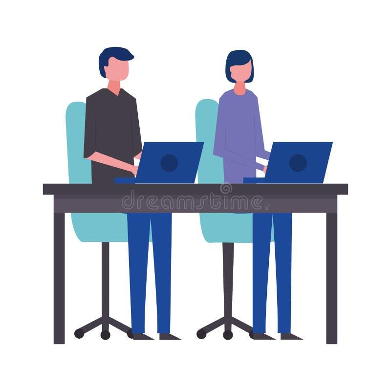 Bureau d'homme et de femme d'affaires fonctionnant avec des ordinateurs portables illustration de vecteur