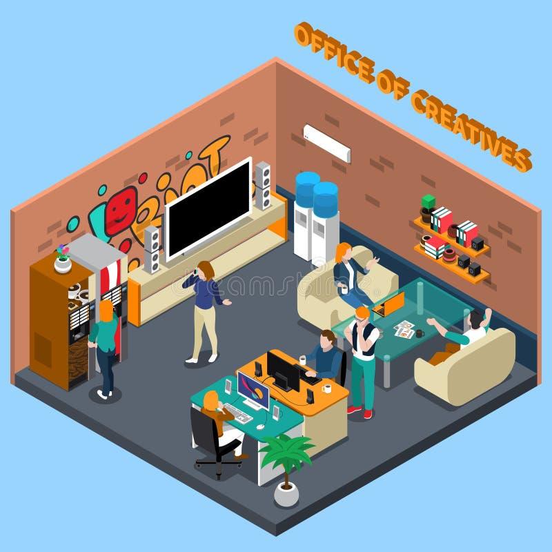Bureau d'illustration isométrique de Creatives illustration de vecteur