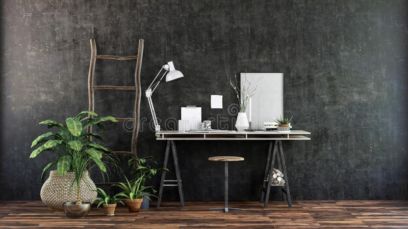 Bureau dans la chambre avec des plantes d'intérieur contre le mur sombre illustration stock