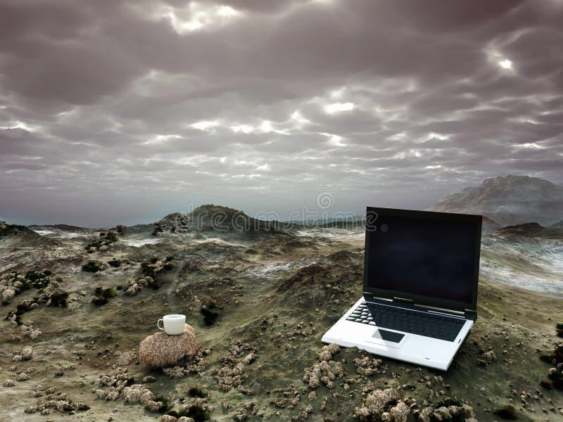 Bureau dans le désert photographie stock