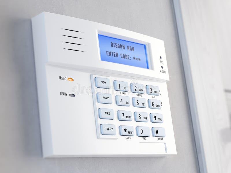 Bureau de concept d'alarme de sécurité à la maison Clavier numérique d'alarme de sécurité à la maison illustration libre de droits