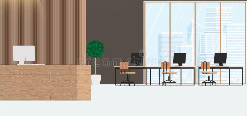 Bureau de conception int?rieur moderne Espace de travail avec de grandes fen?tres avec une vue industrielle Illustration plate de illustration stock