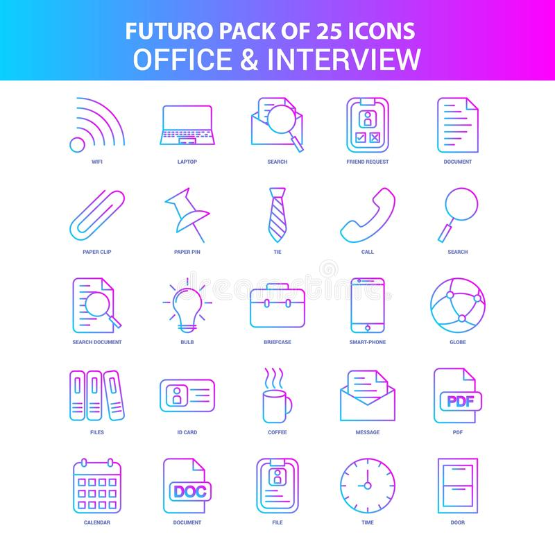 25 bureau de Futuro et paquet bleus et roses d'icône d'entrevue illustration libre de droits
