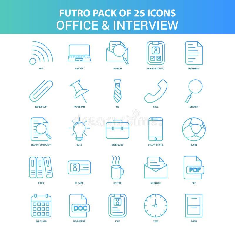25 bureau de Futuro et paquet verts et bleus d'icône d'entrevue illustration de vecteur