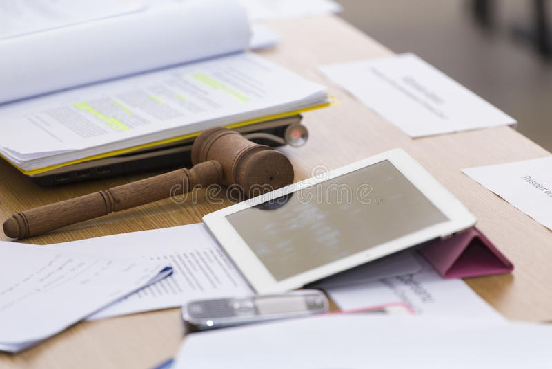 Bureau de juge photographie stock