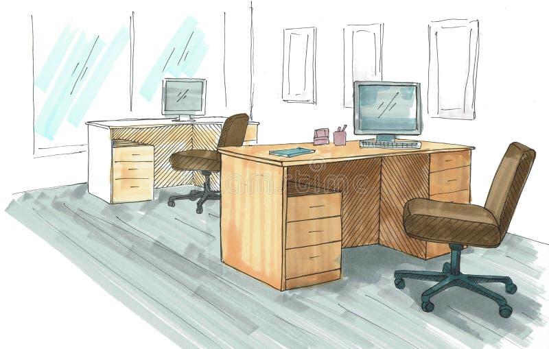 Bureau de l'espace ouvert Lieux de travail dehors Tableaux, chaises et fenêtres Un croquis lumineux dessiné par des marqueurs illustration stock
