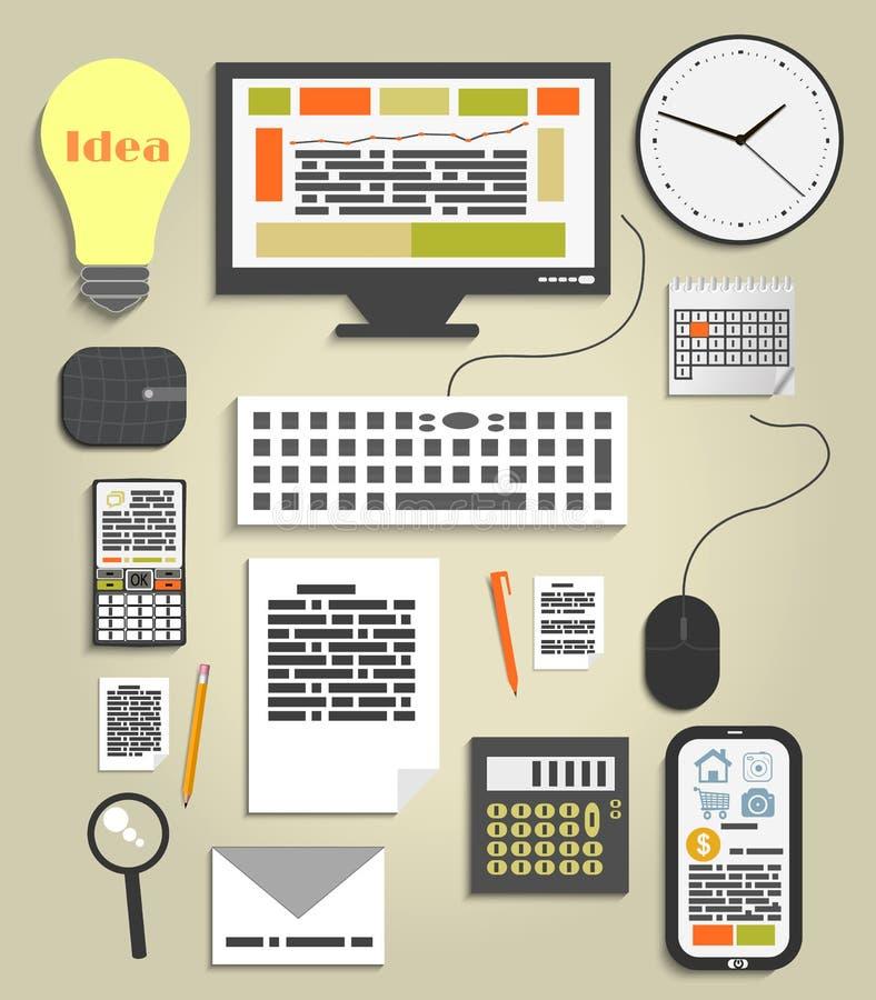 Bureau de lieu de travail et ensemble d'éléments de travail d'affaires illustration stock