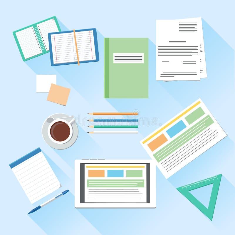 Bureau de lieu de travail et ensemble d'éléments de travail d'affaires illustration de vecteur