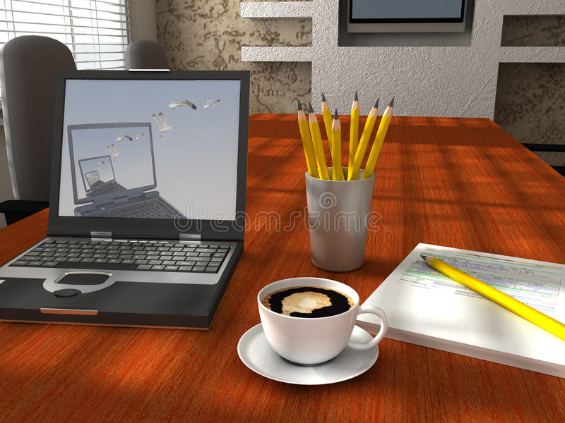 Bureau in de ochtend vector illustratie