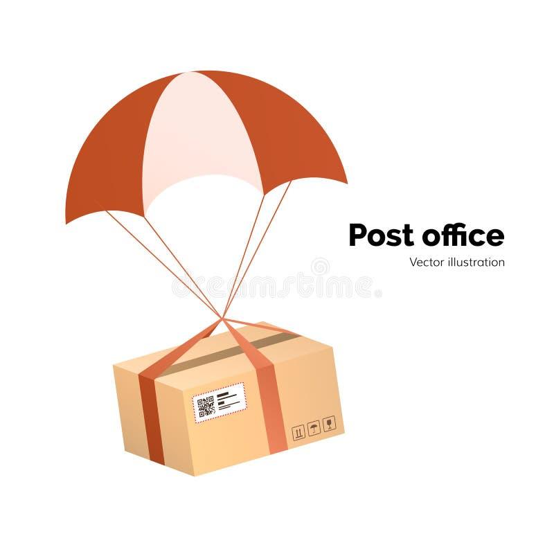 Bureau de poste service de distribution de par avion Packege avec le label, code de QR colis avec le parachute pour embarquer, il illustration stock
