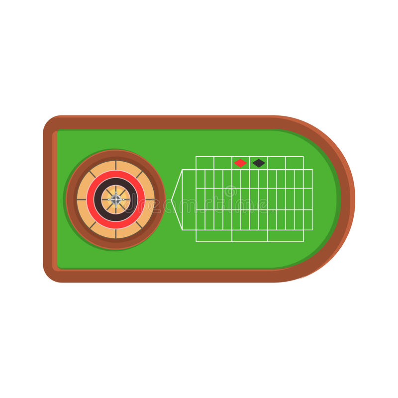 Bureau de roulette avec la vue verte de tissu d'en haut, le jeu et l'illustration relative de bande dessinée de boîte de nuit de  illustration stock