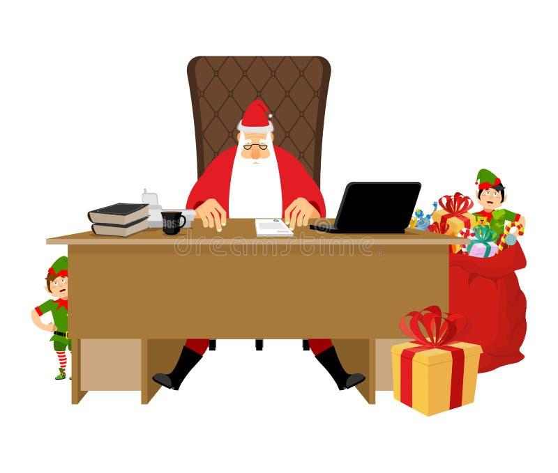 Bureau de Santa Claus Travail de Noël Bureau et patron de chaise grand-papa illustration de vecteur
