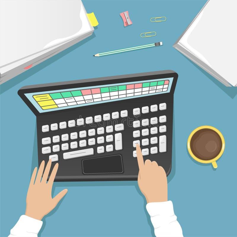 Bureau de travail avec l'ordinateur portable, une pile des papiers et une tasse de café Un bureau propre illustration libre de droits