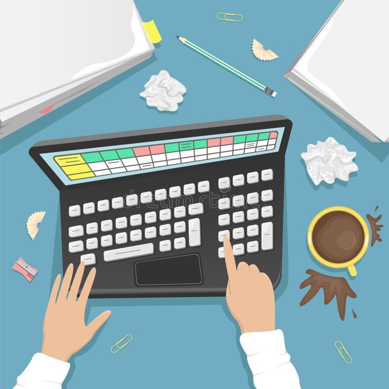Bureau de travail avec l'ordinateur portable, une pile des papiers et une tasse de café Un bureau sale illustration stock
